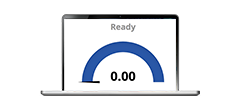 Support - laptop open with speed arch on screen with status ready representing test your speed