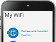 Support - Mobile phone with My WiFi dashboard on screen representing sign in to My WiFi