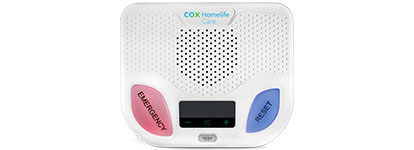 Homelife care device Hub with cox homelife care logo three buttons
