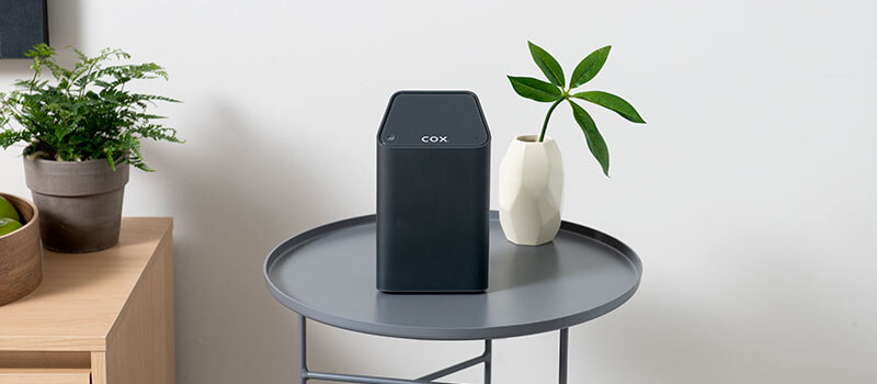 Cox Panoramic Wifi equipment on table with plants in background