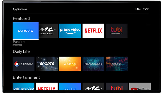 Contour streaming apps options displayed on TV screen