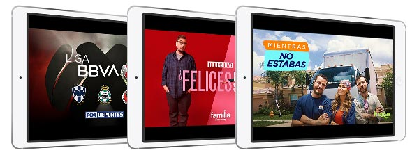 Thre tablet screens with the Riveras, Walking Dead and Seguirdad De Frontera from NBC Universo
