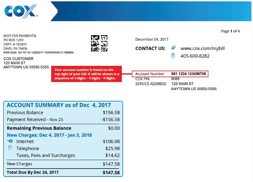 Cox billing statement account number example