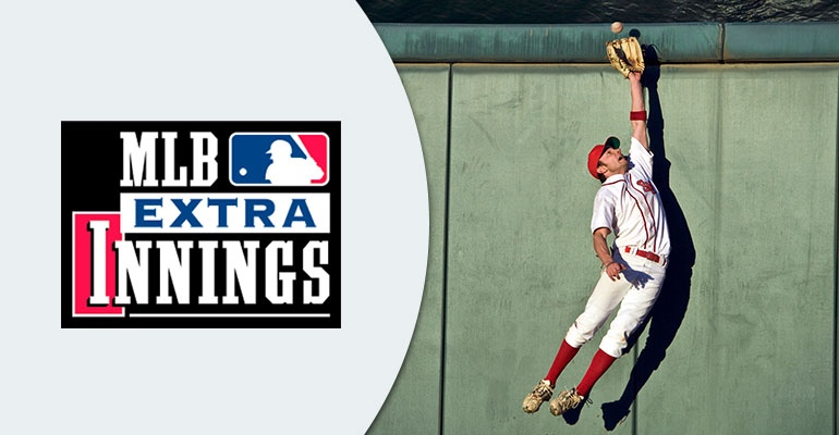 MLB Extra innnings logo with a player trying to catcg a ball