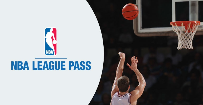 NBA league pass with the player throwing the basketball to the hoop